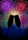 fireworks & champagne glasses